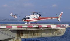Monaco Heliport. Heli air Monaco AS365 + AS350