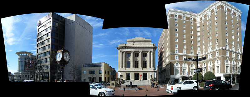 Panorama of City Hall, County Courthouse, and Westin Hotel