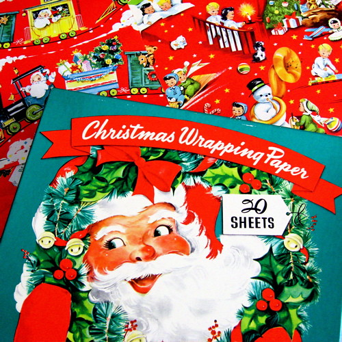 Vintage Christmas Wrapping Paper Box