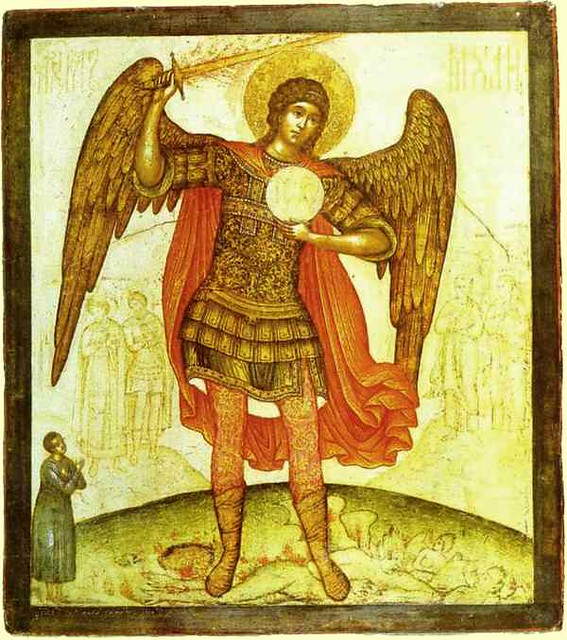 Simon Ushakov. The Archangel Michael Trampling the Devil Underfoot. 1676.