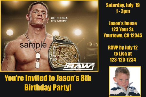 Personalized WWE Wrestling Invitations Custom Printable Photo For Kids Birthday Party