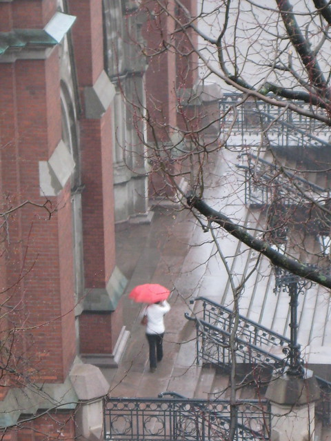 A red umbrella