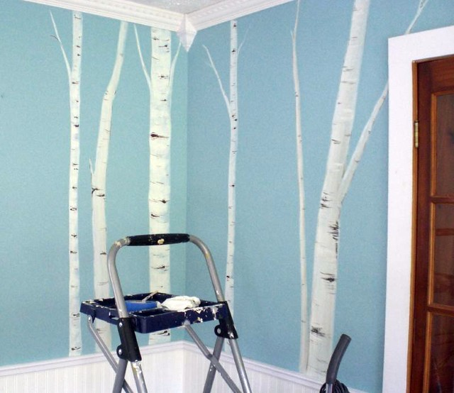 Birch tree mural amy and i painted a mural of birch for Birch wall mural