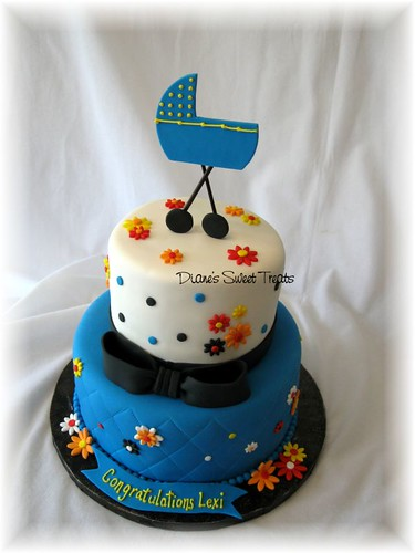 floral blue baby shower cake
