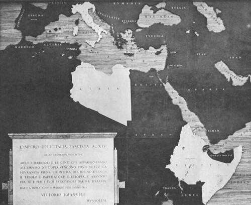 """Rome, Imperial Fora: """"Via dell'Impero Nascita di una strada 1930-36."""" Map # 5: """"Fondazione dell' Impero  (28/10/1936). Antonio Munoz (1936)."""""""
