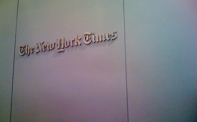 Lobby sign at New York Times