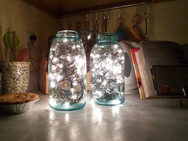 Twinkle Lights In Vintage Blue Mason Jars Flickr Photo