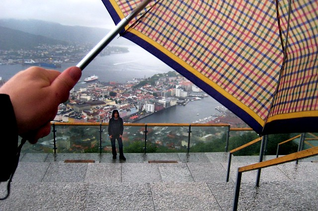 Bergen rain. View from Mount Floyen