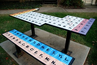 Color photo of a picnic table and bench, shaped and decorated like a periodic table.