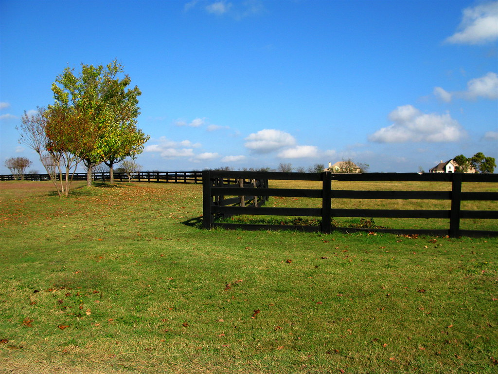 Texas ranch with winding fence under blue sky a photo on for Piani casa ranch con 3 box auto