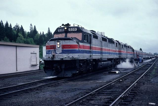 Amtrak SDP-40F #539 leading Coast Starlight #14 at Eugene Oregon, April 20 1980.