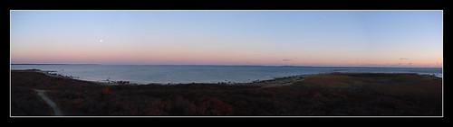 ocean panorama moon water island coast massachusetts east moonrise rise westport gooseberry gooseberryisland