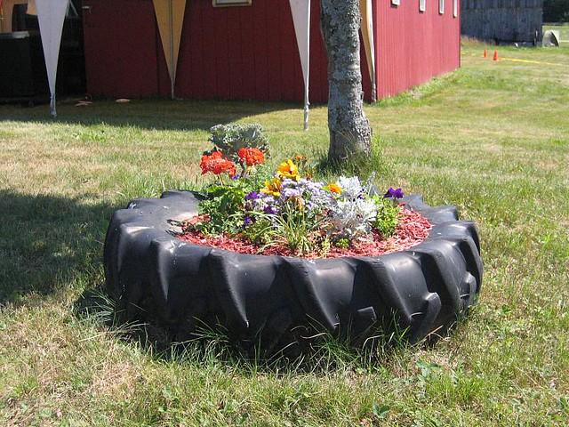 Tire flower pot flickr photo sharing for Car tire flower planter