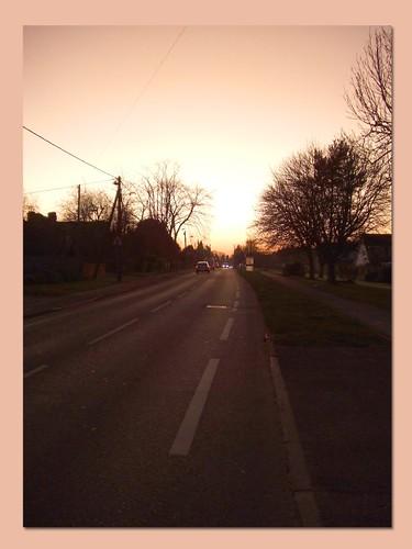 sunset sky evening roads distance