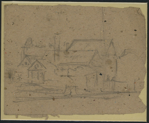 Preliminary sketch for [Back Yard, Zoar] by Frederick Carl Gottwald