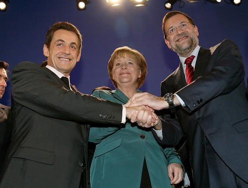 Rajoy con Merkel y Sarkozy