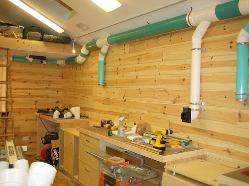 New woodshop construction 2 my green dust collection system by patrick jaromin for Dust collection system design home shop