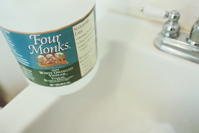 Vinegar cleaning sink