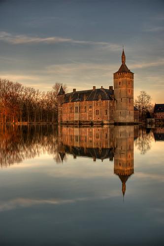 sunset reflection castle water architecture nikon belgium chateau horst hdr flanders kasteel vlaanderen d80