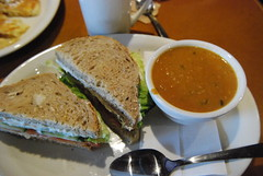 Vegetarian sandwich and spicy peanut soup