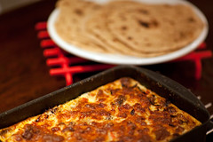 Potato & cream gratin with Chapati bread