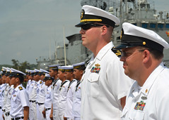 SATTAHIP, Thailand  (May 11, 2011) U.S. Navy Sailors participating in Cooperation Afloat Readiness and Training (CARAT) Thailand 2011 stand at attention, alongside their Royal Thai Navy counterparts during the opening ceremonies of the exercise. (U.S. Navy photo by Mass Communication Specialist 1st Class Jose Lopez, Jr.)