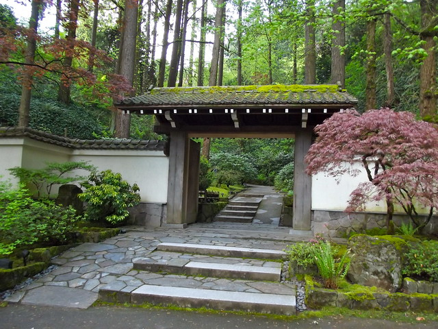 Antique japanese gate nestled in the scenic west hills for Make a japanese garden gate
