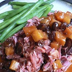 Smoked Pork Neck in Pineapple Sauce with Dried Cherries and Raisins