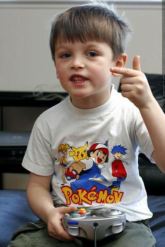 nick, pointing at his mario kart score on nintento gamecube    MG 8567