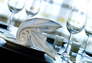 plate and napkin at restaurant