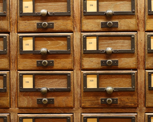 Card catalogs closeup