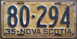 NOVA SCOTIA 1935 license plate