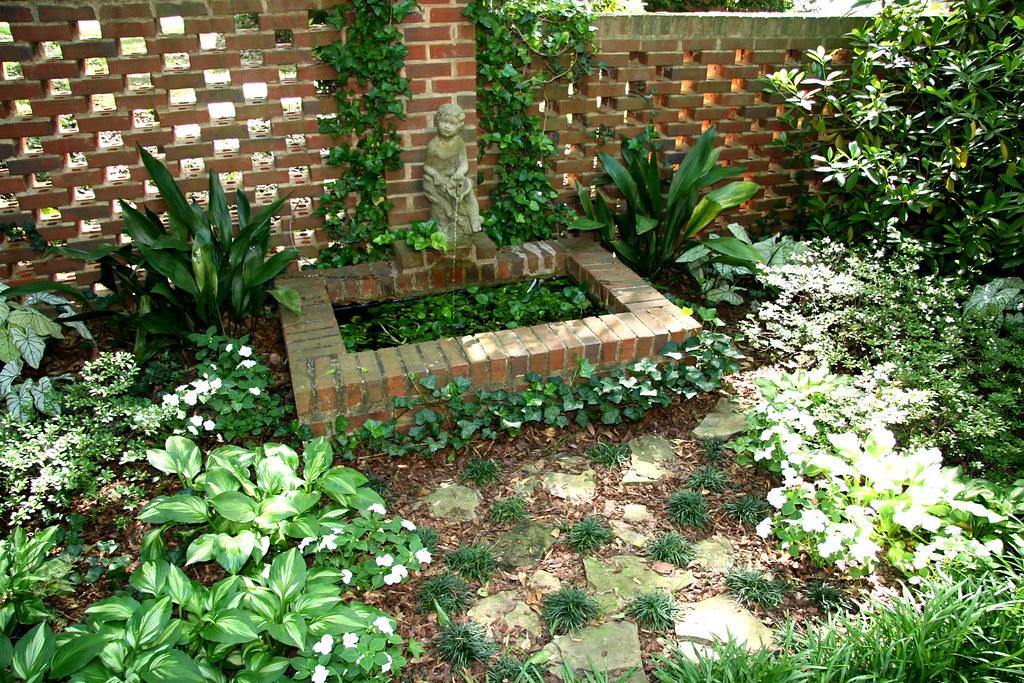Brinker Garden - brick wall and fountain