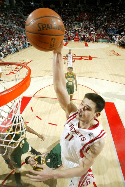Yao Ming throws down a dunk Monday night against Seattle ...