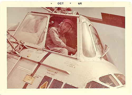 My dad in a helicopter used in Korean War