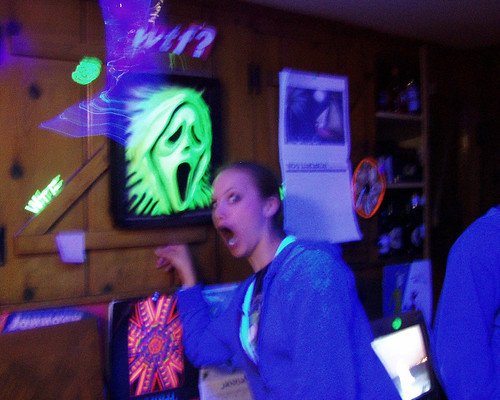 20070317 – Carolyn's birthday and St. Patrick's Day party – (by Casey) – 425418666_a2d0a5f816_b – Jess – blacklight kitchen The Scream