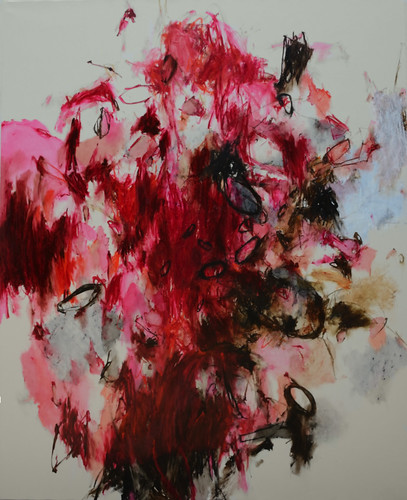 Christine Ay Tjoe, When Black and Red could hardly be a circle,2013, Oil on canva, 200 x 170 cm