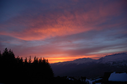 sunset sky snow france alps lesarcs