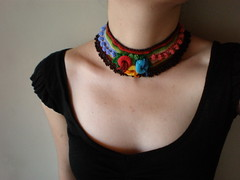 Campsis Radicans  Freeform Crochet Necklace