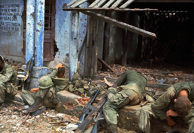 Quang Tri, Vietnam, 1968, Exhausted GIs Rest in Front of a Ruin