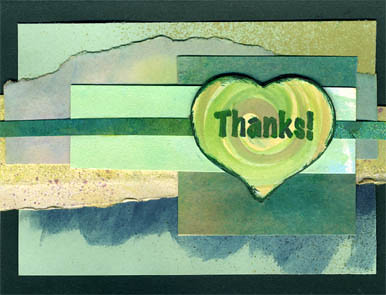 Teal & Green Heart Thank You Card