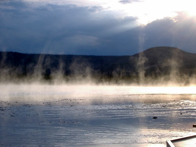 Steam devils in steam of Grand Prismatic Spring, Yellowstone Park.