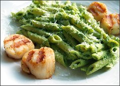 scallops and penne with spinach sauce