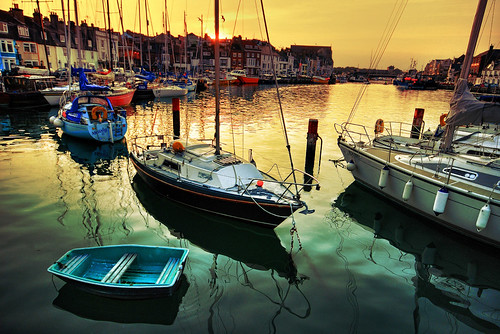 sunset orange reflection green composition portland harbor boat nikon harbour yacht mast weymouth hdr tender moored photomatix d80 3exp flickrsbest trinitycove