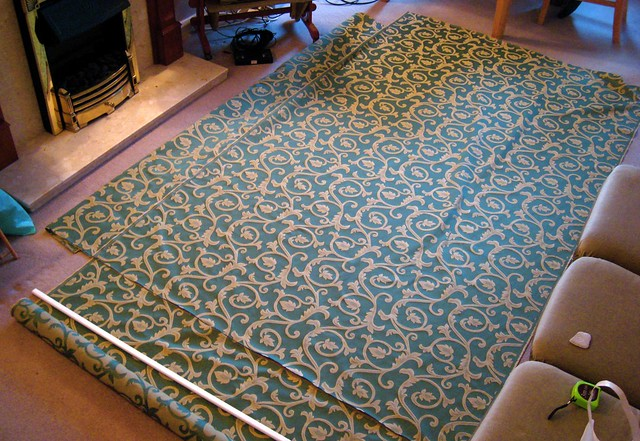 The fabric laid out on Mum's floor