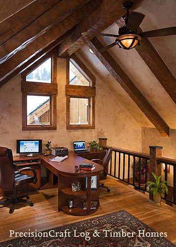 Log Home Office : Custom design timber frame home office in loft by