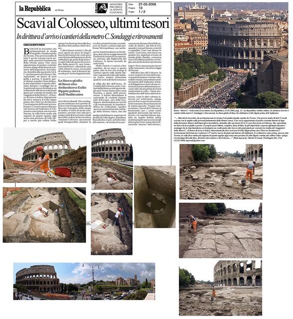 """ROME - METRO C - COLLOSEUM : """"Roma - Scavi al Colosseo, ultimi tesori (i cantieri della Metro C)..."""" La Repubblica (21/05/2008). Pt. 5."""