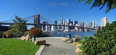 NYC View on Manhattan via Brooklyn Bidge