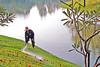 Thailand, Ayutthaya Summer Palace, gardener at work by bilwander