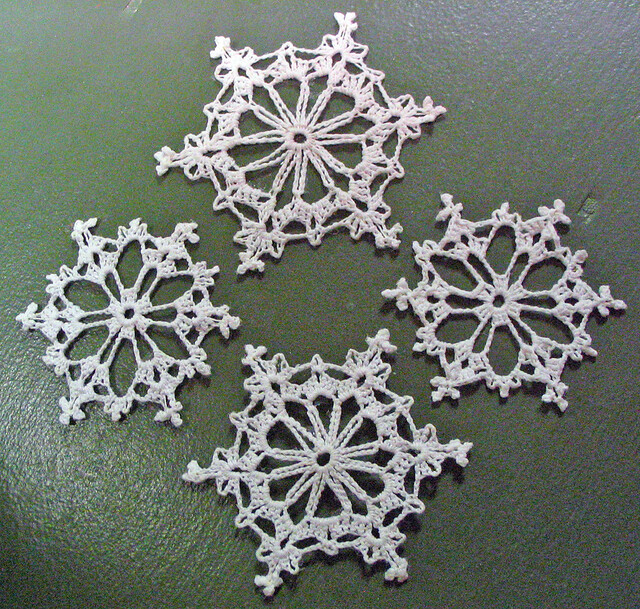 Free Crochet Pattern For Snowflake : 4 Crochet Snowflakes Flickr - Photo Sharing!